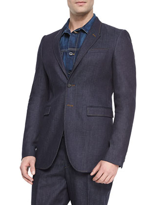 Two-Button Stretch Denim Jacket, Indigo