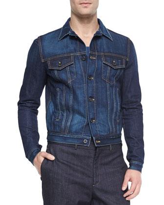 Woven Denim Jacket, Two-Button Stretch Denim Jacket & Sartorial Stretch ...