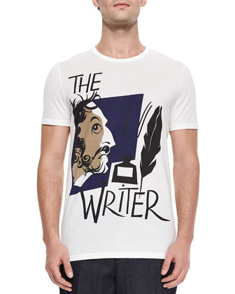 Writer-Print Knit Tee, White
