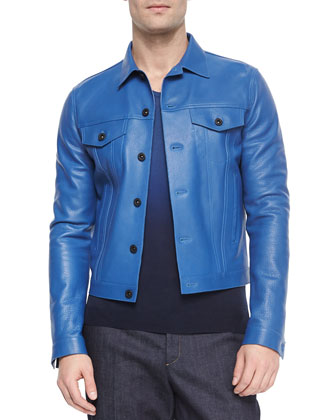 Calf Leather Jacket, Bright Blue