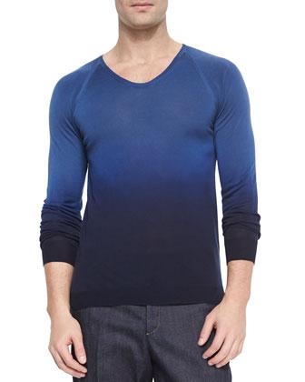 Dip-Dye Woven Raglan-Sleeve Sweater