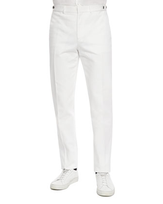 Sartorial Flat-Front Trousers, White