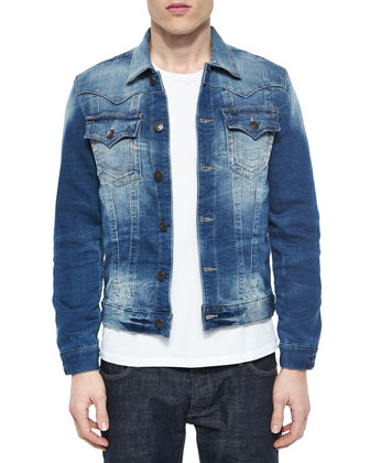 Slim Trucker Active Denim Jacket, Blue