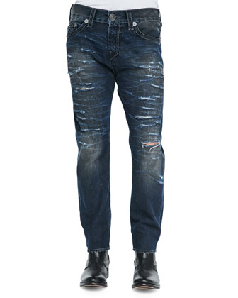 Dean Relaxed Destroyed Denim Jeans, Dark Blue