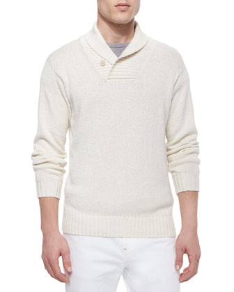 Shawl-Collar Pullover Sweater, Cream