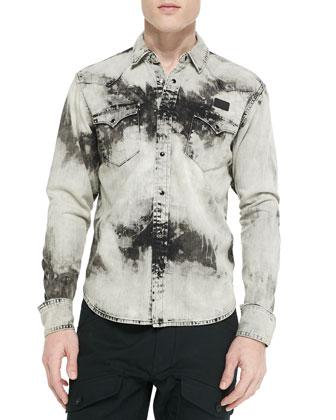 Colorbox Bleached Denim Shirt & Residents Cargo Jogging Pants