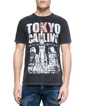 Tokyo Calling Graphic Tee, Black