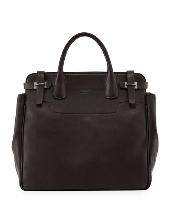 North-South Runway Leather Tote Bag, Dark Gray