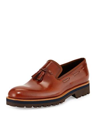 Shiny Leather Tassel Loafer