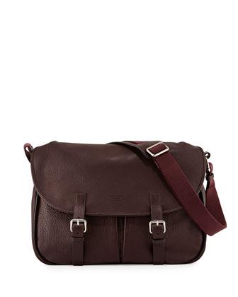Tumbled Leather Satchel Bag, Burgundy