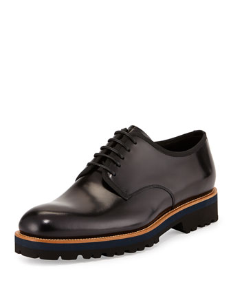 Shiny Leather Lace-Up Oxford