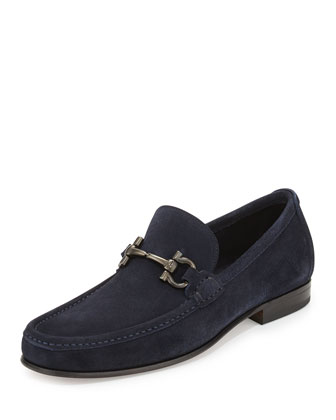 Giordano Suede Gancini Loafer, Blue Ink