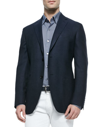 Basketweave Two-Button Jacket, Circle-Print Sport Shirt & Slim Fit ...