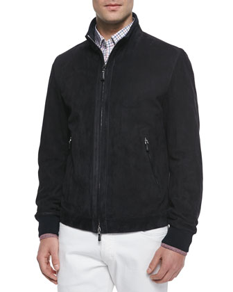 Lambskin Suede Jacket, Navy