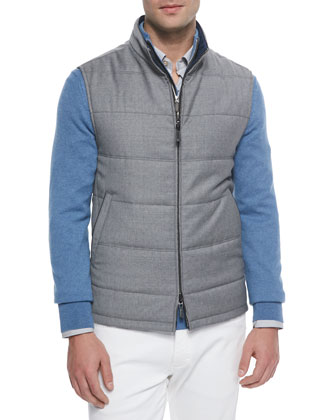 Reversible Wool Pique Vest, Medium Gray/Bright Blue