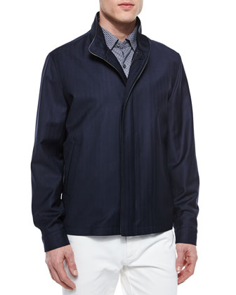 Chris Wool Blouson Jacket, Navy