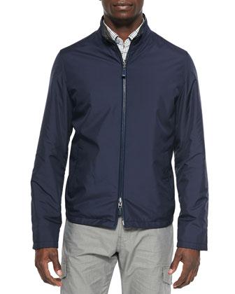 Microfiber Reversible Blouson Jacket, Blue