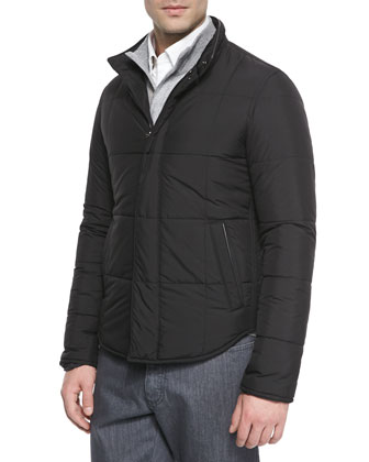 Microfiber Quilted Jacket, Black