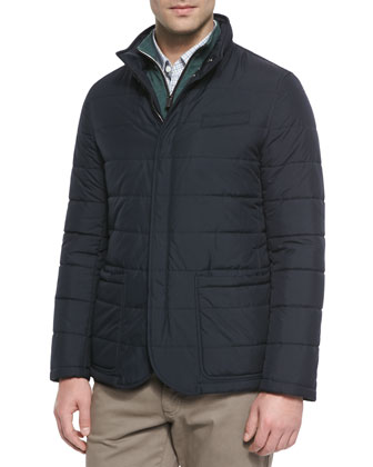 Paneled Microfiber Jacket, Navy