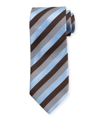 Woven Matte Striped Silk Tie, Brown