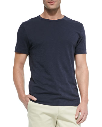 Slub Crewneck Short-Sleeve Tee, Navy