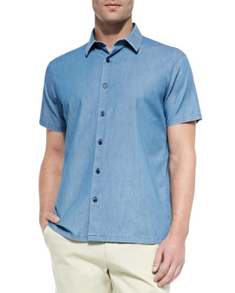 Short-Sleeve Cotton-Blend Shirt & Woven Bermuda Shorts