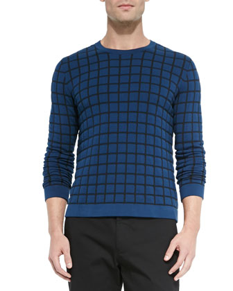 Woven Square-Print Sweater, Blue/Black