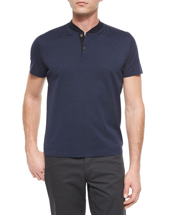 Tonal Stripe Short-Sleeve Henley Tee, Navy