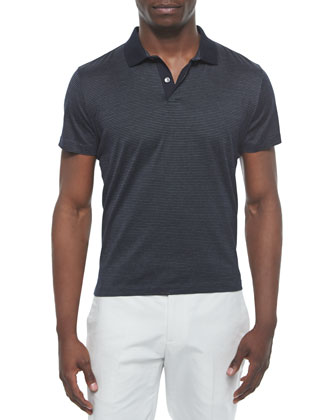 Short-Sleeve Textured Polo Shirt, Navy