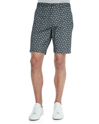 Stretch-Cotton Petal Jacquard Shorts
