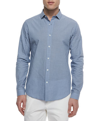 Micro-Check Cotton Sport Shirt, Light Blue