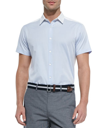 Colorblock Short-Sleeve Shirt, Light Blue/White