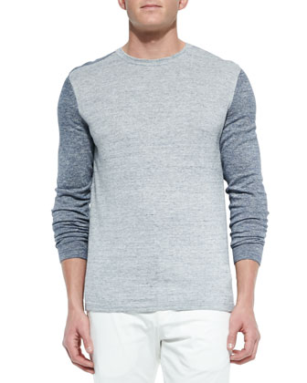 Colorblock Crewneck Sweater, Light Blue/Gray