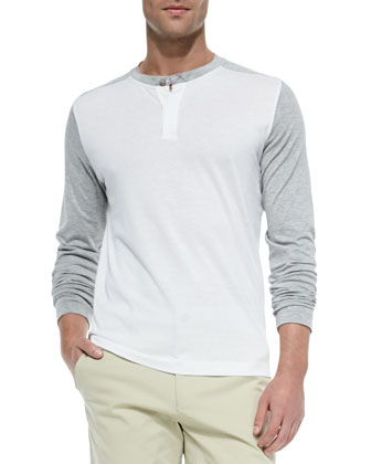 Colorblock Long-Sleeve Henley, Off White/Gray