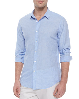 Long-Sleeve Linen Sport Shirt, Light Blue