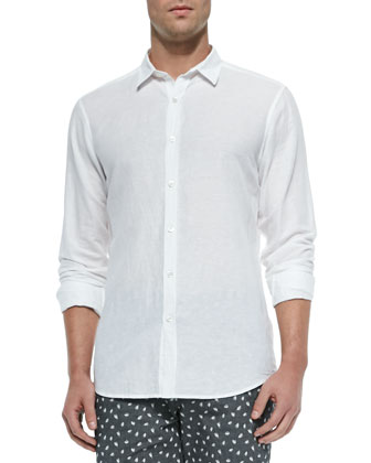 Short-Sleeve Linen Shirt, White