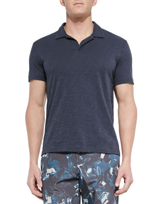 Short-Sleeve Slub Polo, Navy