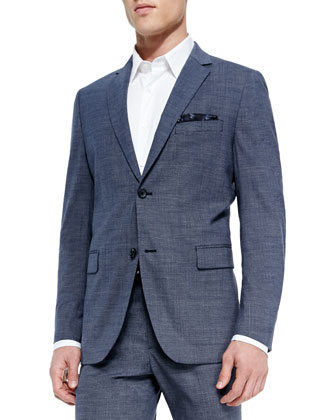Wool-Blend Micro-Texture Blazer, Blue