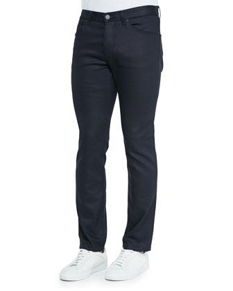 Basic Leather Jacket, Check Long-Sleeve Sport Shirt & Five-Pocket Denim Jeans