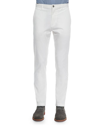 Zaine Cotton Slim Straight-Leg Pants, Off-White