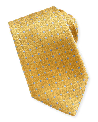 Dotted Flower Neat Tie, Yellow
