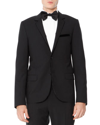 Slim Cut Evening Jacket with Velvet Piping, Black
