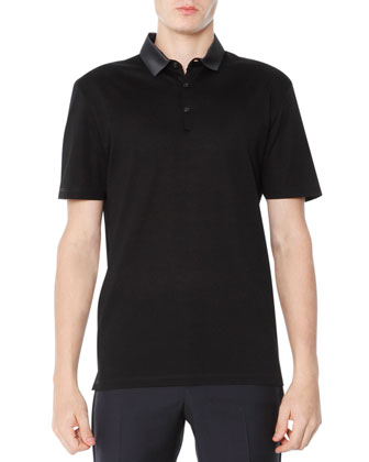 Grosgrain-Collar Polo, Black