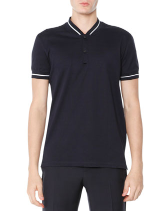 Baseball-Collar Polo Shirt, Navy Blue