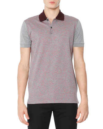 Colorblock Polo Shirt, Gray