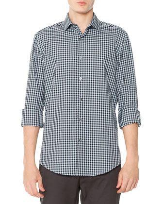 Gingham-Check Poplin Shirt, Blue/Black