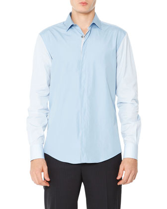 Colorblock Poplin Shirt, Pale Blue