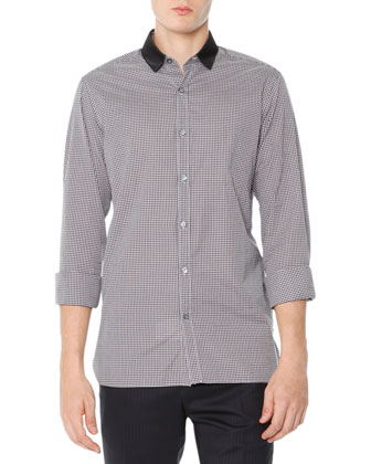 Small-Gingham Button-Down Shirt, Gray/Back