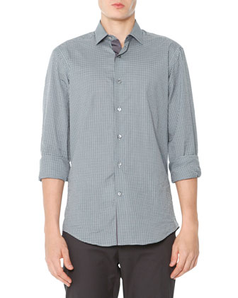 Small-Gingham Poplin Shirt, Black/Green
