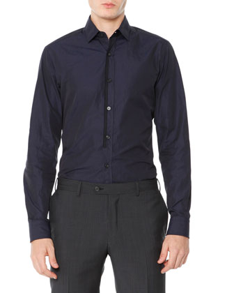 Poplin Shirt with Grosgrain Ribbon, Navy Blue